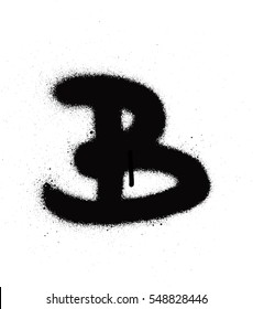sprayed B font graffiti with leak in black over white