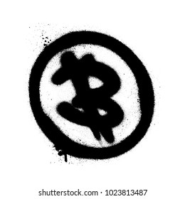 Sprayed bitcoin icon with overspray in black over white. Graffiti art vector illustration.