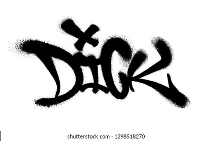 Sprayed dick font graffiti with overspray in black over white. Vector illustration.