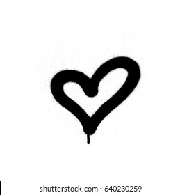 sprayed graffiti heart in black on white