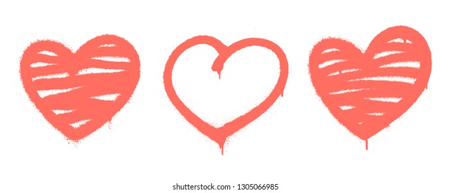 Sprayed graffiti hearts set on white. Vector illustration EPS 10