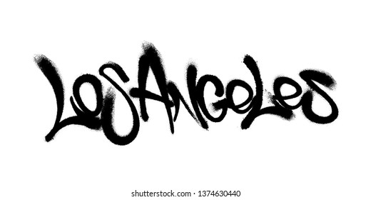 Sprayed Los Angeles font graffiti with overspray in black over white. Vector illustration.