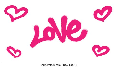 Sprayed love font graffiti with overspray in pink over white. Vector illustration.