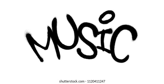 Sprayed music font graffiti with overspray in black over white. Vector graffiti art illustration.