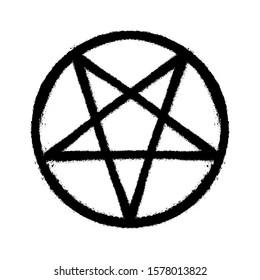 Sprayed pentagram icon font graffiti with overspray in black over white. Vector illustration.