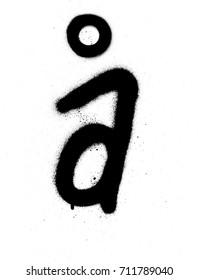 sprayed Scandinavian graffiti vowel font in black over white