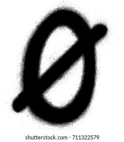 sprayed Scandinavian vowel font graffiti in black over white