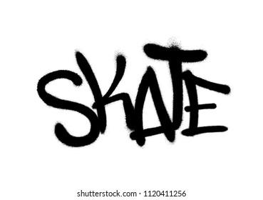 Sprayed skate font graffiti with overspray in black over white. Vector graffiti art illustration.
