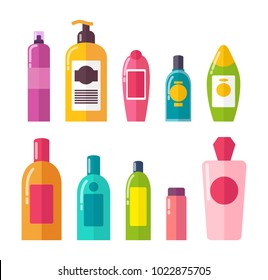 Sprays and shampoos, poster with set of tubes, and containers, gels and essence, good for body, vector illustration, isolated on white background