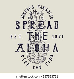 spread the aloha vintage label print with pineapple drawing and lettering.