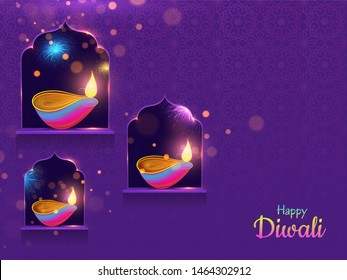 Spread lighting in corner with oil lamp on purple background for Happy Diwali purple card or poster design.