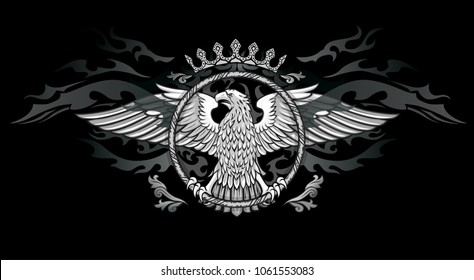 Spread winged eagle in ring insignia dark