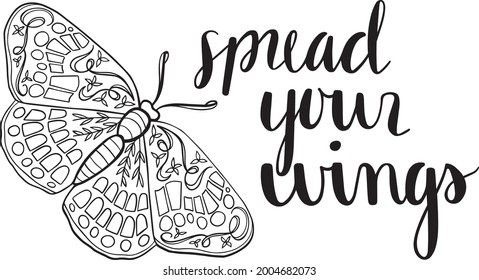 Spread Your Wings Quote Butterfly Vector