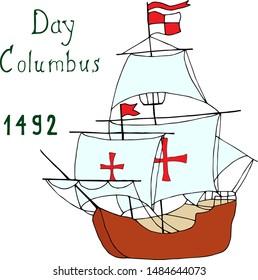 Spreading sails of Columbus caravel. Cartoon lines art. Vector hand draw illustration EPS10.