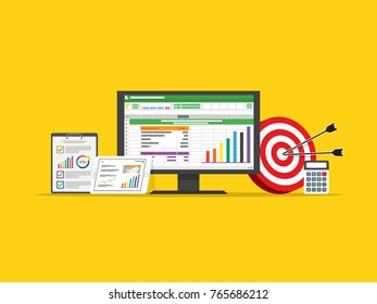 spreadsheet accounting computer. virtual business finance. investment management data on screen. marketing target strategy. cpi cost per impression concept goals target concept in flat design vector