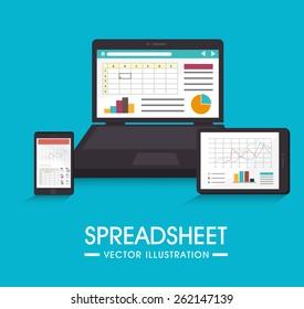 Spreadsheet design over blue background, vector illustration.