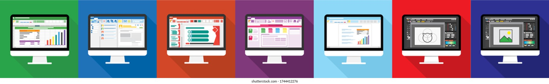 Spreadsheet, email, presentation, word, image editor software program on Computer screen flat icon. office things for planning and accounting, analysis, audit, project management, vector illustration