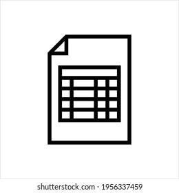 Spreadsheet Icon, Computer File Format Of Data Stored In Tabular Form Vector Art Illustration