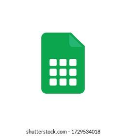 Spreadsheet icon design isolated on white background