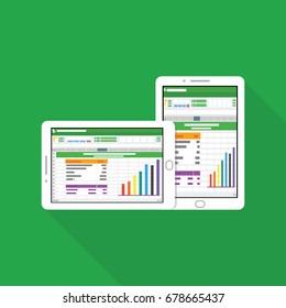 Spreadsheet icon Tablet Computer flat vector illustration