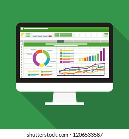 Spreadsheet on Computer screen flat icon. Financial accounting report concept. office things for planning and accounting, analysis, audit, project management, marketing, research vector illustration