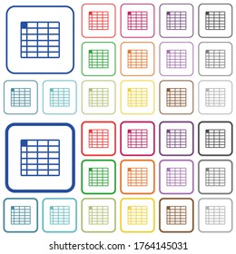 Spreadsheet table color flat icons in rounded square frames. Thin and thick versions included.