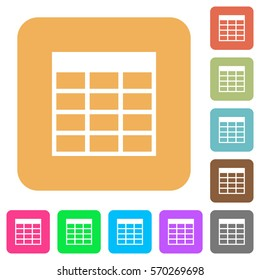 Spreadsheet table flat icons on rounded square vivid color backgrounds.