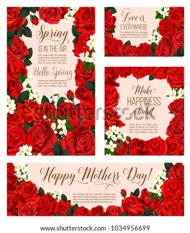 Spring air seasonal greeting cards mother stock vector royalty free spring is in air seasonal greeting cards for mother day holiday of red roses and flowers m4hsunfo