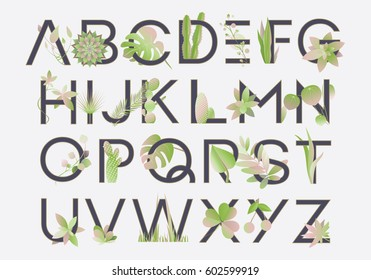 Spring alphabet letters decorated with green lush, monstera leaves, succulents and cacti plants