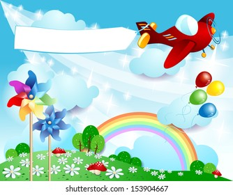 Spring background with airplane and banner, vector