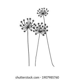 Spring background with blossom dandelions on white. decorative dandelions vector sketch illustration