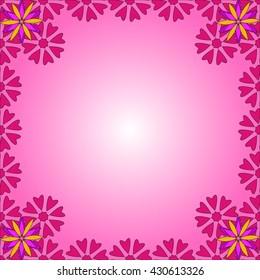 Spring background of color flowers and mesh. Floral pattern. Vector illustration. Design