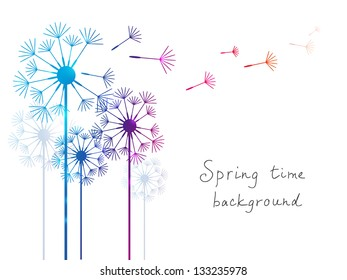 Spring background with dandelions on white