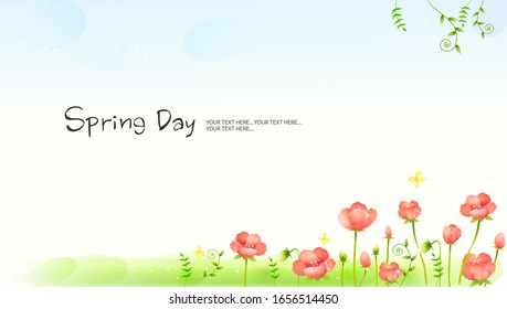 Spring background with flower, romantic illustration, Vector - Shutterstock ID 1656514450