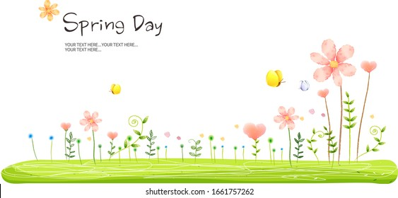 Spring background with flower.  vector Illustration - Shutterstock ID 1661757262