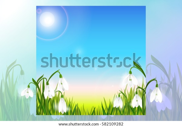 Spring background with galanthus snowdrop flowers, green grass, swallows and blue sky. Can be used for Easter, birthday, wedding, anniversary, save date. Seasonal sales.