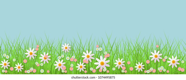 Spring background with grass and flowers border against blue sky with empty space for text. Greeting card decoration element for Easter congratulation. Cartoon vector illustration.