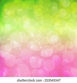 Spring background.  Green and pink colors. Vector illustration