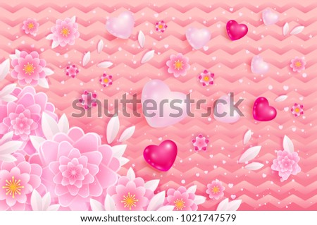 Spring Background With Hearts And Flowers In Pink Color Vector Illustration