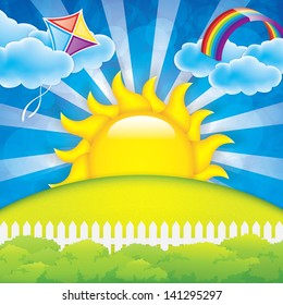 Spring background  with kite and rainbow