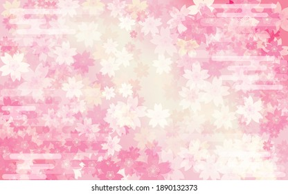 Spring background material, cherry blossom gradation background, Japanese pattern (haze) included