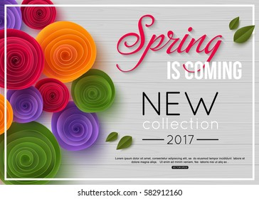 Spring background with paper flower. Vector illustration.