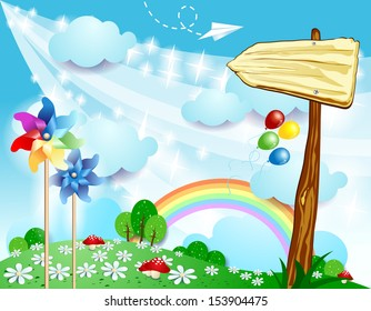 Spring background with sign, vector