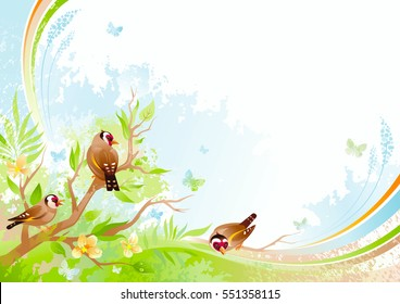 Spring background. Tree branch cherry blossom, goldfinch bird. Watercolor flower, grass, leaf, grunge floral pattern. Isolated flat season vector illustration. Happy springtime nature Easter greetings