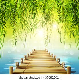 Spring background with weeping willow, lake and pier.
