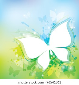 spring background with white butterfly and transparent blots