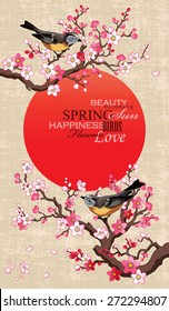 Spring banner with blossoming sakura branch, red circle - Japan symbol and birds on a textural paper background