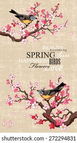 Spring banner with blossoming sakura branch and birds on a textural paper background