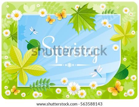 Spring Banner Border Cute Forest Poster Stock Vektorgrafik