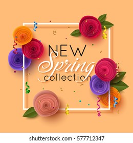 Spring banner with paper flowers for online shopping, advertising actions, magazines and websites. Vector illustration.